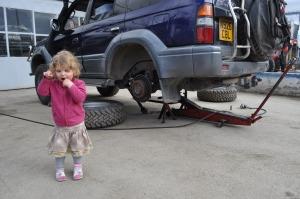 Lily at garage