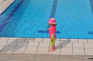 Lily at the pool, at Coral Reef Hotel