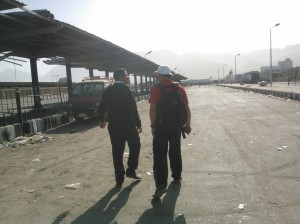 Walking to the port