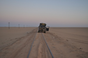 On the train track in the Nubian desert