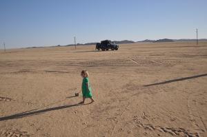 Lily walking the desert