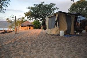 Camping on lake Malawi, 3kms north of Chimba junction