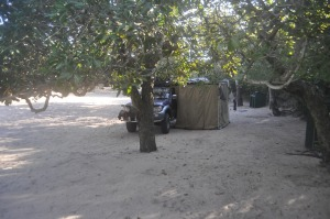 Camping at Macaneta Island lodge, Mozambique