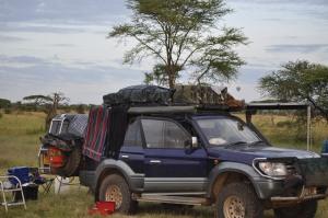 Dik Dik campsite view of the Serengeti Park. Hot air balloons often seen.