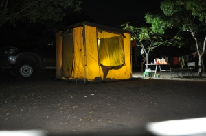Godigear awning tent room by night