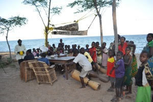 Kids on Lake Malawi make a Condom Football display