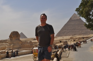 Nic at Sphinx and Pyramid of Giza