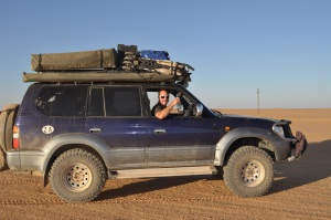 Land cruiser, crossing the Nubian close to the rail track.